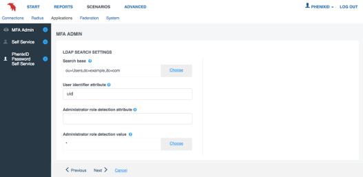 LDAP search settings