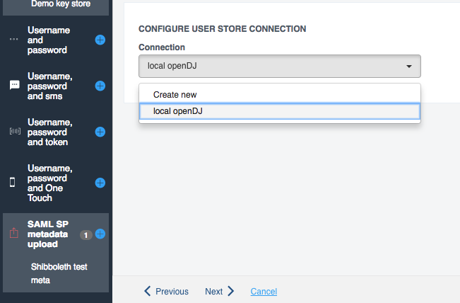 Userstore selection