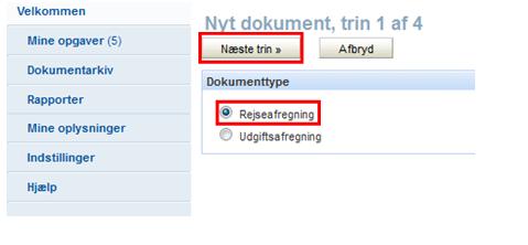 Trin 1 af 4: Valg af dokumenttype: Rejseafregning