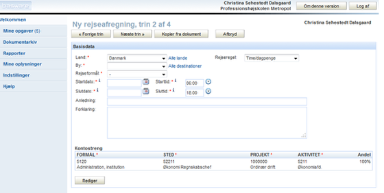 Trin 2 af 4: Rejseafregningens basisdata