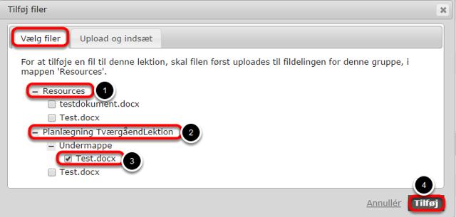 Du kan vælge eksisterende filer