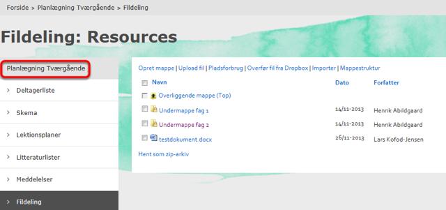 """Mappen: """"Resources"""" i en planlægningsgruppe kan se sådan ud:"""