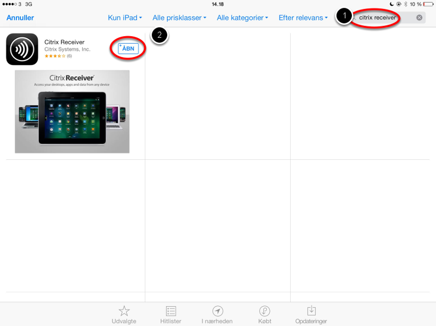 Downloade en Citrix klient til din ipad