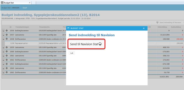 """Godkend nu indmeldingen ved at klikke på: """"Send til Navision Stat"""""""