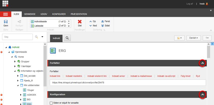 """Åbn Sitecore og gå til """"Indholdsredigering"""" og find en side du skal redigere i"""