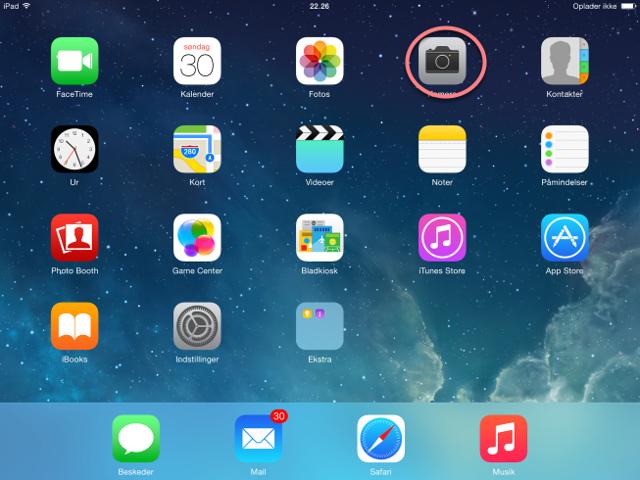 """Du skal finde """"Kamera"""" på iPaden"""