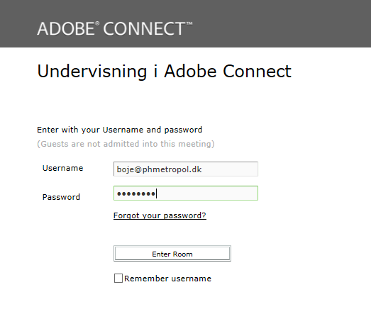 Login ind i Adobe Connect