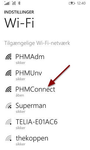 """Vælg """"PHMConnect"""""""