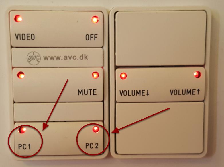 Vælg PC1 eller PC2 på panelet