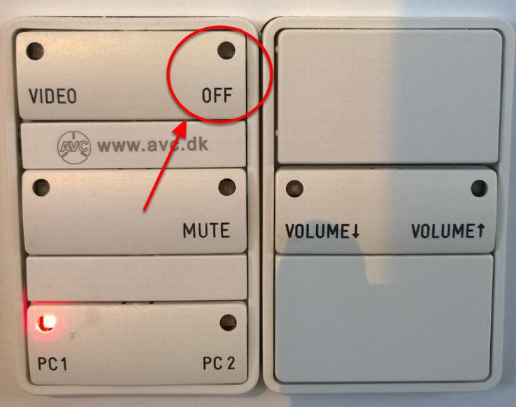 """Vælg """"Off"""" på panelet"""