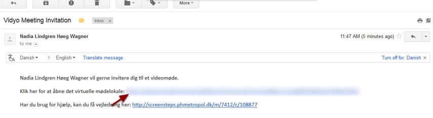 Den eksterne gæst får nu en email med link til det virtuelle mødelokale