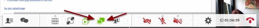 Vælg ikonet med 2 skærme i funktionsmenuen - det er markeret som aktivt med et grønt ikon hvis du allerede fremviser materiale