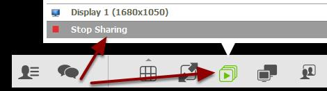 """For at fjerne fremvisning helt, trykker du på fremviser-ikonet og vælger """"Stop sharing"""""""