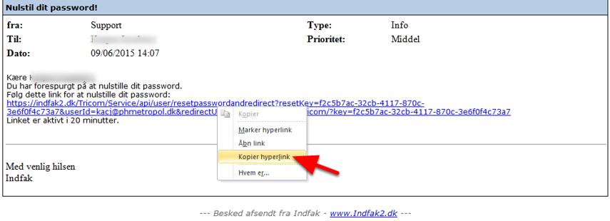 Kopier hyperlinket fra mailen.