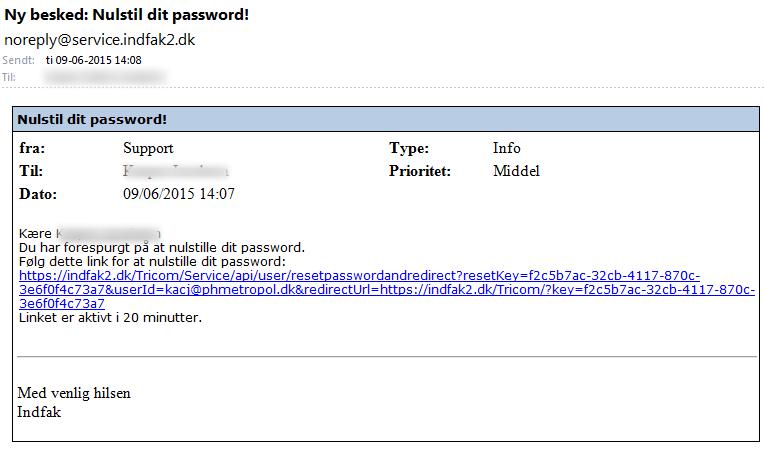 Du modtager inden for 5 minutter en mail med et nyt engangspassword.