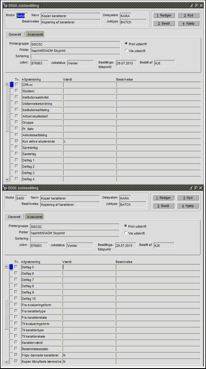 S450 Kopier af karakterer