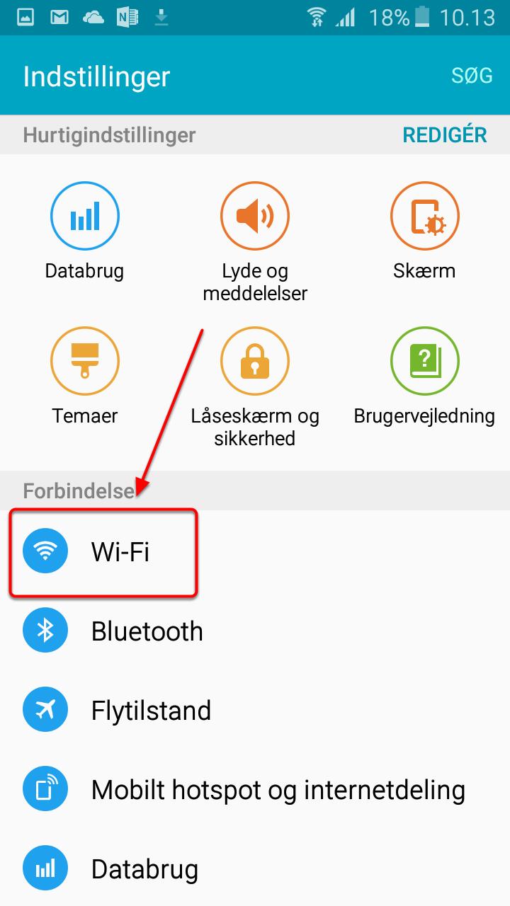 """Vælg """"Wi-Fi"""""""