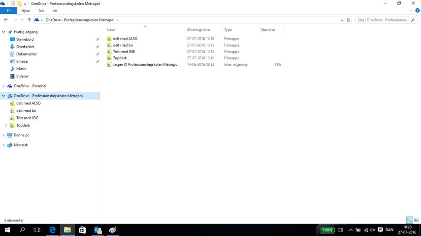 Dit OneDrive ligger nu i stifinder, og hertil kan du kopiere/flytte filer til, ligesom med normale netværksdrev eller lokale mapper