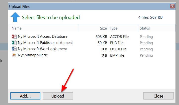 """Tryk på """"Upload"""" når du har fundet alle de filer du vil uploade"""