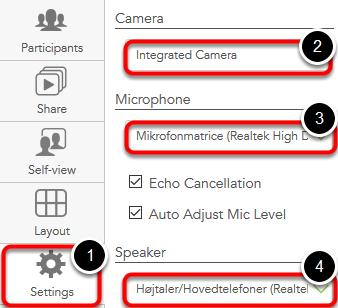Du skal også ændre instillingerne for kamera, mikrofon og speaker her i rummet