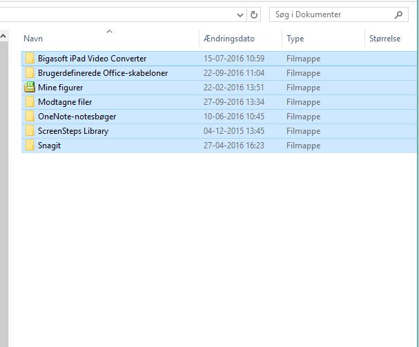 Marker alle filer og mapper