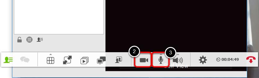 Gå ind i vidyorummet/den samtale hvori du ønsker at slukke/tænde egen mikrofon eller kamera