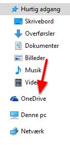"Tryk på ""OneDrive"""