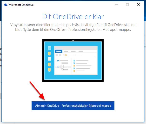 """Vælg """"Åbn min OneDrive - Professionshøjskolen Metropol-mappe"""""""