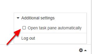 "Sæt flueben i ""Open task pane automatically"""