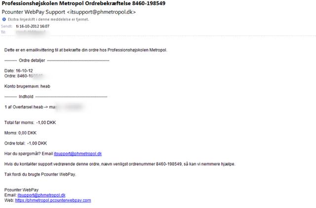 Du vil modtage en mail kvittering der ser sådan ud