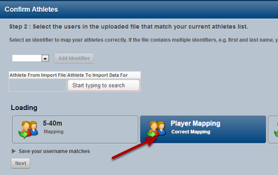 The next time you import in data for athletes with a first and last name column, click on the saved mapping and it will load the correct identifiers and match the athlete accordingly