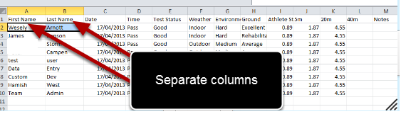 The import file has First Name and Last Name as separate columns