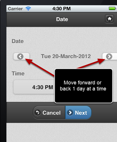 Previously, to navigate through dates on the iPad/iPhone application you needed to use the day forward or day back buttons.