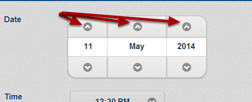 Click the up arrows to move forward one day, month or year
