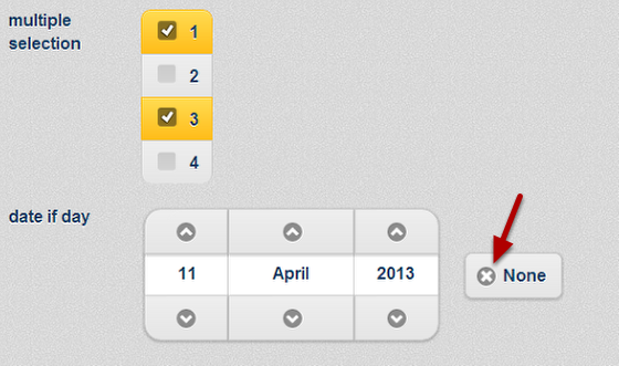 The date selection field in an Event Form has to be entered, but if there is a date field In the form you will also have the option to clear the date