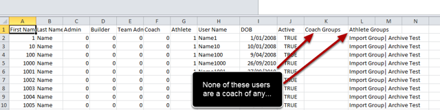 Open the csv and see the list of Groups as Coach and Groups as Athletes