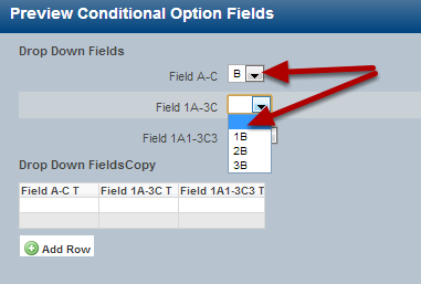 If B is selected, then only options specified to appear will show (e.g. the 1A, 2A and 3A options do not appear).