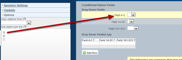 "To set up a ""Conditional Option"" field, you need to first set up an option field (e.g. a dropdown or single selection)"