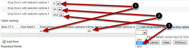 Tables: Conditional Option fields can be set up exactly the same way in fields that are set to be entered as table fields