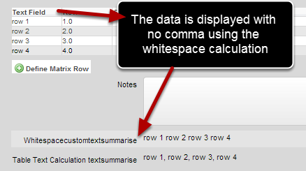 The whitespacecustomtextsummarise concatenates all of the table column data and displays it without a space