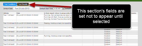 """Any sections set to No for """"Group Section Selected"""" do not appear during Group Entry Mode until they are selected."""