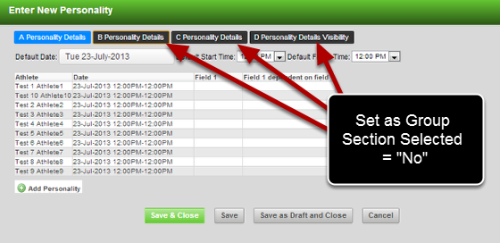 This means you could have a form with a lot of sections and only the first section is set to appear. Then, you can select or deselect the sections when required.