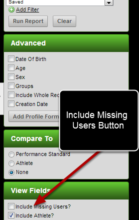 "Click on Include ""missing users"" to show the athletes who do not have any data entered for them"
