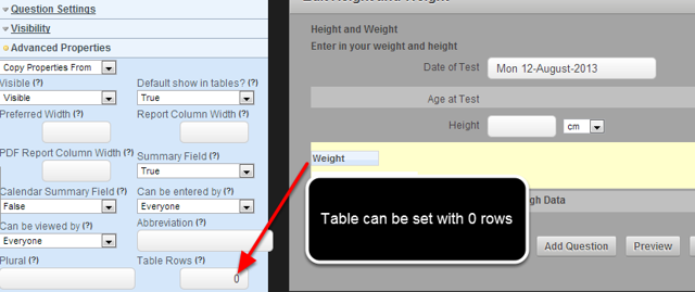 A table can be set to have 0 rows in it. Previously it had a minimum of 1 regardless of the table row settings.
