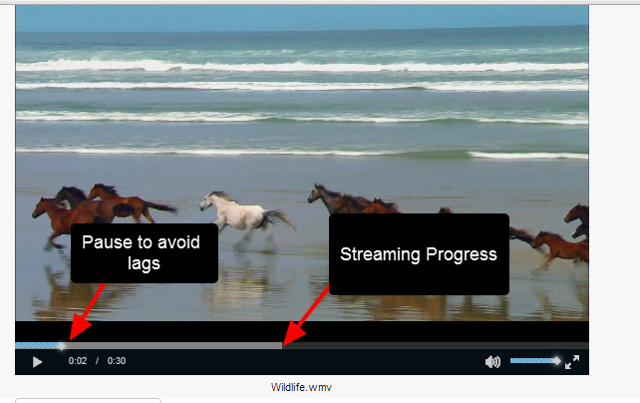 To ensure the video plays continuously, pause the video while it streams, and then push play to view