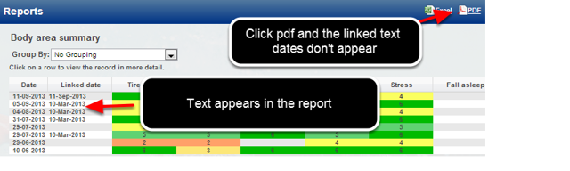 Previously Linked Text Date fields were appearing in the system, but they were not showing in a pdf