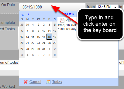 If you want to enter in historical dates, you can type in the date directly into the date field using this exact format: MM/DD/YYYY