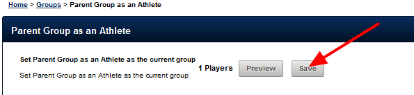 This user can only view their own data when loading the Parent Group that they are added to as an Athlete