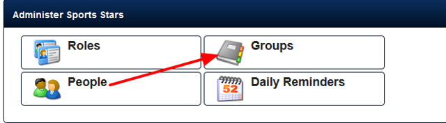 To change or add a user to a Group click on the Groups Button