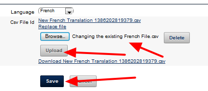 Choose the File that you just translated and click Upload and Save